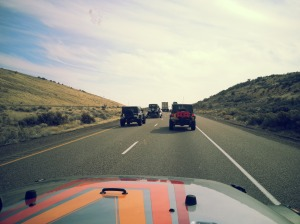 The group, on Highway 84 to Moab.