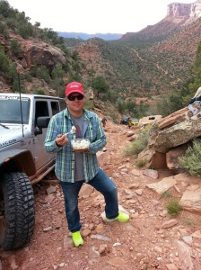 Me enjoying this salad in Moab, UT. Okay, make fun of my shoes then move along.