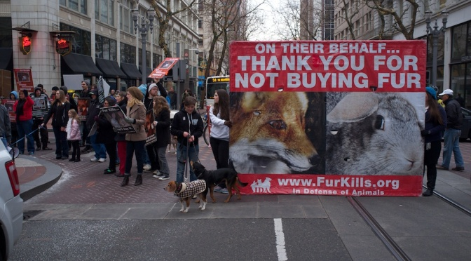 Fur Free Friday Demonstration in Portland